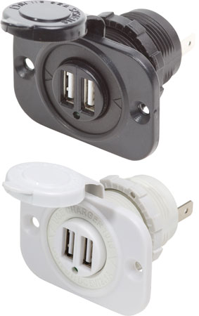 blue sea 12v / 24v dual usb charger socket